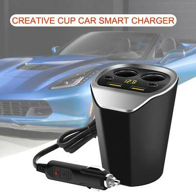 Dual USB LCD Car Charger Cigarette Lighter Double Power Adapter Socket Splitter