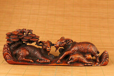 antique chinese old boxwood hand carved sheep pine tree statue netsuke