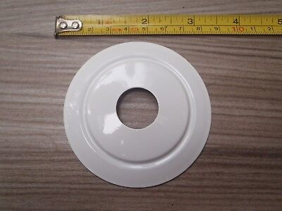 A 75 mm SPUN ALUMINIUM STOVED WHITE TABLE LAMP PARTS / VASE CAP / BACK PLATE