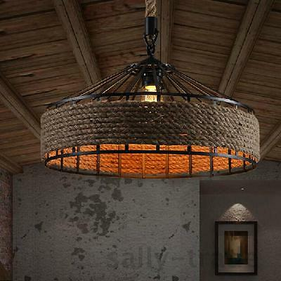 Vintage Industrial Hemp Rope Iron Pendant Ceiling Light Bases Chandeliers