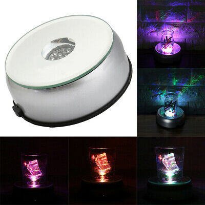 4'' Unique Rotating Crystal Display Base Stand 7 LED White Light + AC Adapter