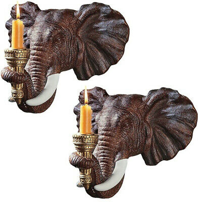 Set of 2 African Elephant Head Wall Sconces Detailed Sculptural Candle Holders