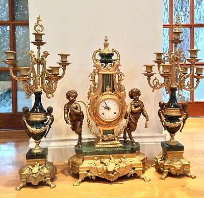 Stunning Green Marble Imperial garniture clock set by Antonio Farbelli of Italy
