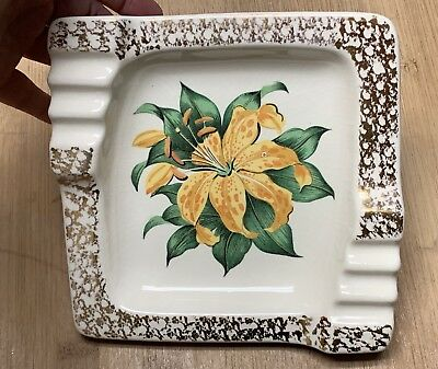 Vintage 60's Yellow & Orange Tiger Lily Flower Square Ashtray Gold Edge Detail