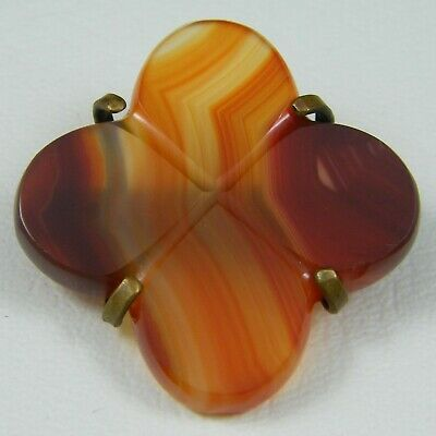 Antique Victorian Large Carnelian Lucky Four Leaf Clover Celtic Brooch Pin Agate
