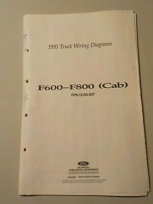 1993 ford f600 f700 f800 cab truck electrical schematic wiring diagram  manual