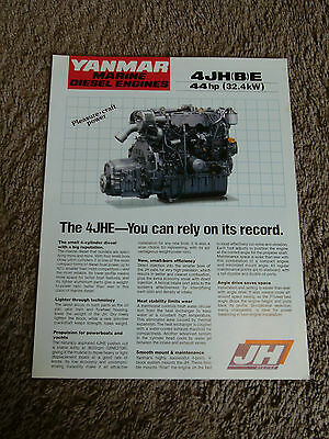 YANMAR MARINE DIESEL Engine 4JHE 4JHBE 44hp Dealer Sale Brochure  Specifications