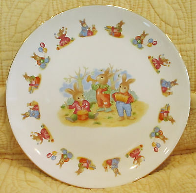 "Mount Clemens Pottery: Child's Plate Dish Rabbits Bunnies Musicians 7.5"" Japan"