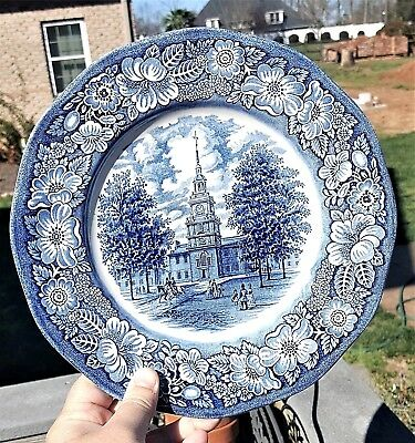 "10"" Staffordshire Ironstone Plate/Dish INDEPENDENCE HALL Liberty Blue England"