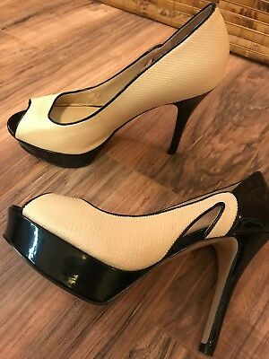c4adca5403 Flawless Bundle Marc Fisher Beige And Black Patent Stiletto Heels toe Size  7.5