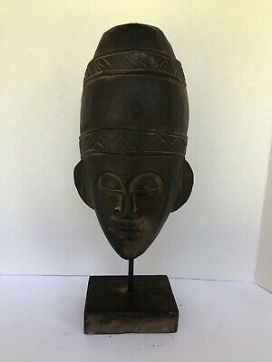 """17"""" wood sculpture man face rustic figurine hand carved with stand Indonesia"""