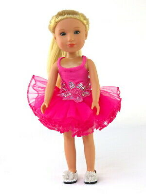 14.5 in Doll Clothes Pink Ballerina Set Tutu Ballet Slippers fit Wellie Wisher