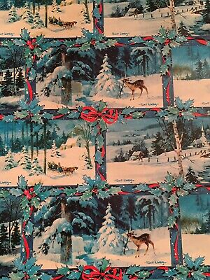 Vtg Christmas Wrapping Paper Gift Wrap 1960 Deer Sleigh Church Snow Scene Pretty