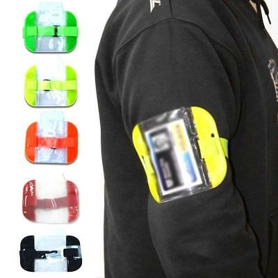 PVC Arm Band ID Badge Card Holder Visibility Security Cover Armband Bag Yellow