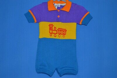 vintage 80s PIERRE CARDIN TRAIN PURPLE YELLOW BLUE ONE PIECE 6/9 MONTHS