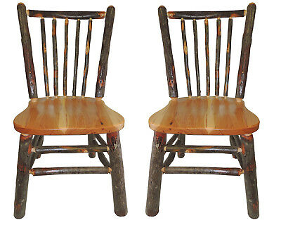 (Sale) Set of 2 Amish Rustic Hickory & Oak Spindle Back Kitchen Chair
