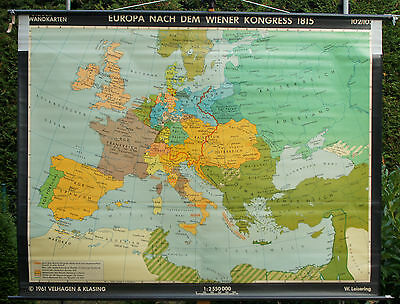 Schulwandkarte Wall Map School Map Role Map Europa Vienna 1815 Congress 192x148c