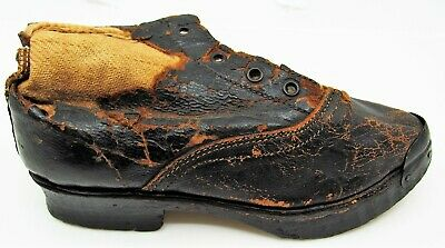 ANTIQUE Victorian Childs HANDMADE Black Leather Shoe Wood Sole Metal Tip France
