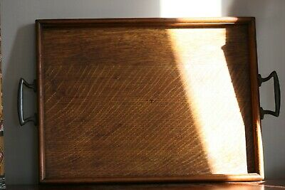 Vintage Wooden Tray With Brass Handles And Beautiful Patina