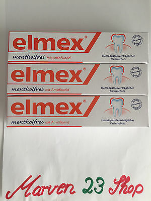 3 x Elmex Toothpaste menthol-free, 75 ml (3 x 75 ml ) free Shipping from Germany
