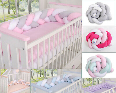 All round/ all around Nursery bumper KNOT 180cm long/to fit Baby Cot Bed or Cot