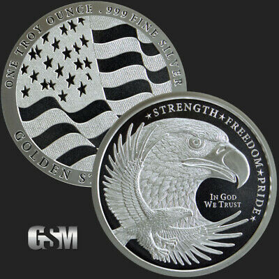 1 - 1 oz .999 Silver Round - GSM Silver Eagle Round - Uncirculated - New