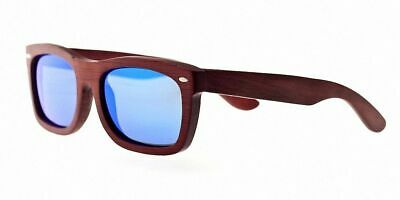 Earth Wood Portsmouth Sunglasses, Red Rosewood/Blue, One Size
