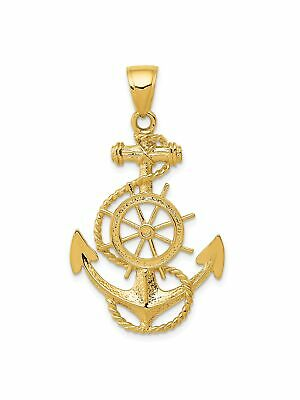 14k Yellow Gold Wheel Anchor with Rope Charm Pendant - 24x39mm 3.05 Grams