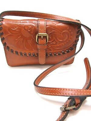 f91ca287f NWT PATRICIA NASH BURNISHED Tooled LEATHER TORRI Crossbody Gold MSRP $99