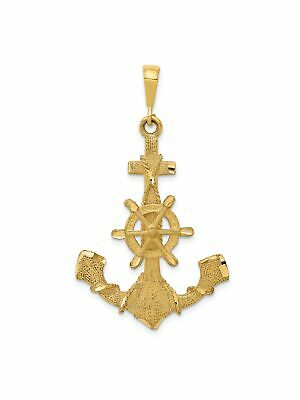 14k Yellow Gold Anchor and Wheel Charm Pendant - 27x41mm 3.9 Grams