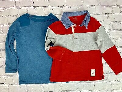 Baby Gap Bundle Lot Boy's Size 4 Long Sleeve Shirt Collar Cotton Red Blue Gray