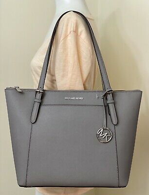 518a2e4d83dd Michael Kors Ciara Large East West Top Zip Tote Saffiano Leather in Pearl  Grey