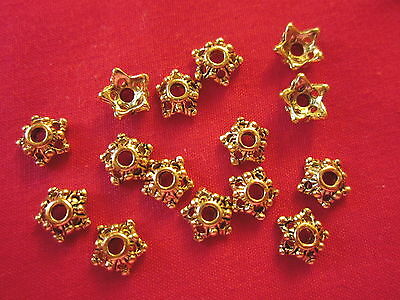 50 Antique Gold Coloured 6mm Star Bead Caps #bc946 Jewellery Making Findings