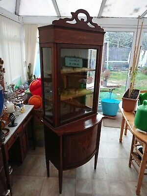 Antique Victorian Mahogany Inlaid Display Cabinet