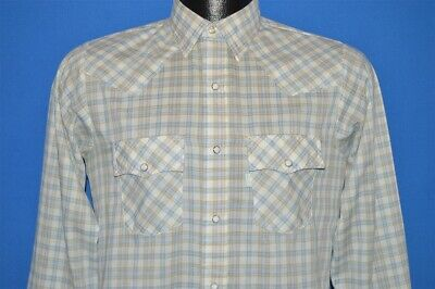 vtg 80s LEVIS WESTERN PEARL SNAP PLAID GREEN WHITE BLUE COWBOY SHIRT BOYS SZ 16