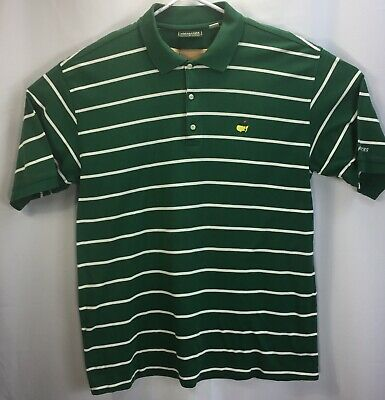 Masters Collection Mens Green Striped Polo Rugby Golf 100% Cotton Size XL