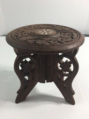Antique Wood Carved Mini Table Made In India