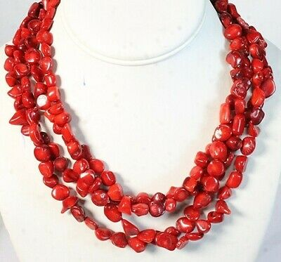 Red Coral Signed Lucas Lameth LUC 925 Sterling Silver 4 Strand Bead Necklace