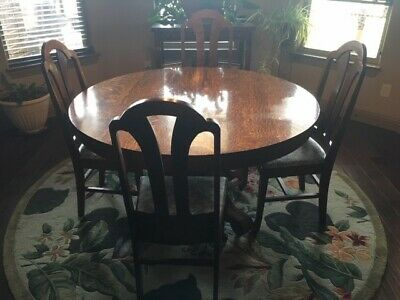 Antique Empire Style Tiger Oak Dining Room Set Table and leaves, Buffet, Chairs
