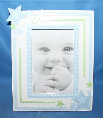"First Impressions Boys Stars Moons Blue White Baby Picture Frame 4"" X 6"""