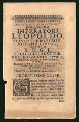1673 Title Page to Biography of Leopold I Holy Roman Emperor King of Bohemia