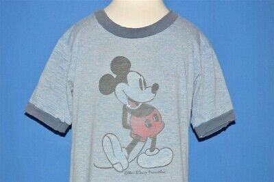 vintage 80s MICKEY MOUSE DISNEY BLUE HEATHERED DISTRESSED t-shirt YOUTH SMALL YS