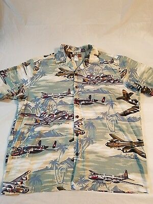 028800b01 Kalaheo Hawaiian Shirt Wwii Miltary Planes Bombers Size Large Made In Usa  #28