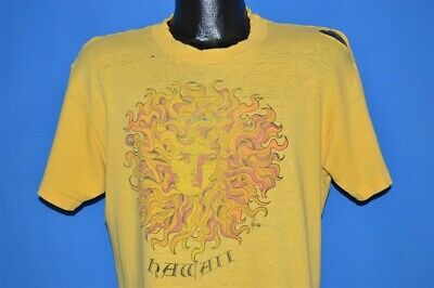 vintage 70s HAWAII YELLOW SUN FACE POLY TEES VERY DISTRESSED HAWAIIAN t-shirt L