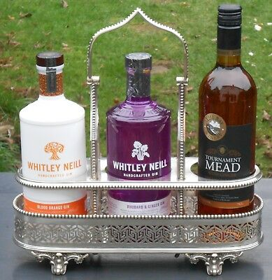 Antique Triple Bottle Stand - Silver Plated