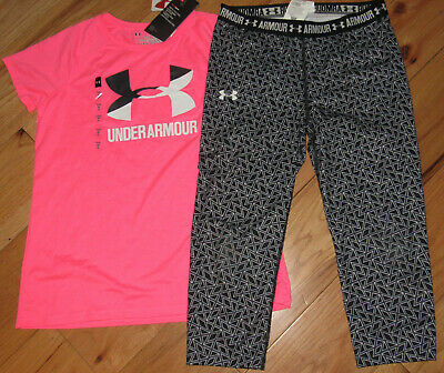 Under Armour pink top & black patterned crop capri leggings 1 NWT girls' L YLG