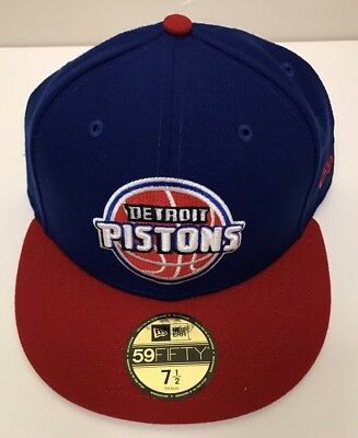low priced 22530 a441e Detroit Pistons New Era NBA Official Team Color 2Tone 59FIFTY Fitted Hat 7 1  2