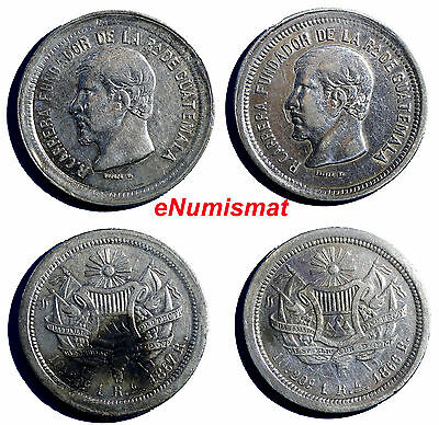 Guatemala Silver LOT OF 2 Coins 1866 ,1867 R 1 Real  2 Years Struck KM# 141