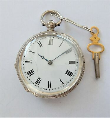 1882 Silver Cased Cylinder Pocket Watch / Fob Watch In Working Order