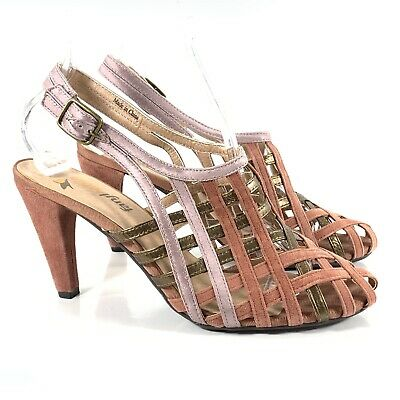 eb574ee1520 Anthropologie Sandals 8.5 Faryl Robin Pink Suede Gold Leather Heel Strappy  Shoes
